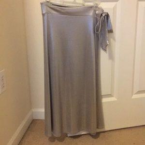 Zara liquid metallic midi wrap skirt